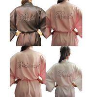 SHORT BRIDAL ROBE DIAMANTE CRYSTAL Bride To Be Bridesmaid Silk Dressing Gown