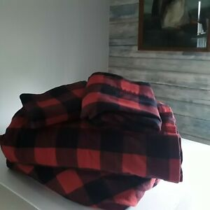 LL Bean Red Buffalo Plaid Check Queen Set Portuguese Cotton Flannel Bed Sheets