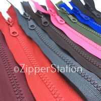 40 cms Chunky Open Ended Zip Zipper Plastic Teeth - Choice of 13 Colours