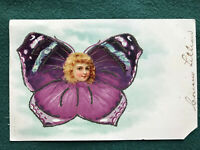 Little Girl Face Butterfly Wings Fantasy 1906 Color Art Postcard Cousin Lillian