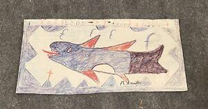 RA Miller Fish Drawing Folk Southern Georgia Outsider Art.  🐠