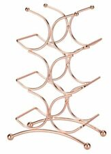 Copper Rose Gold Effect 6 Bottle Wine Storage Rack Holder Kitchen