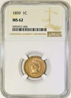 1859 Indian Head Cent NGC MS-62; Nice Eye Appeal!