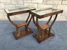 Pair of Art Deco Gilbert Rohde Style Walnut & Mirrored Etched Glass End Tables