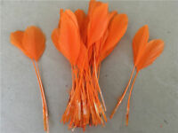 """FEATHERS ORANGE Stripped Coupe x 10 pcs  Millinery and Crafts 5-7""""  UK SELLER"""