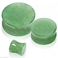 "PAIR-Stone Jade Double Flare Ear Plugs 16mm/5/8"" Gauge Body Jewelry"