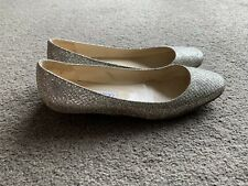 AUTHENTIC JIMMY CHOO FINLAY GOLD & SILVER BALLET FLATS SHOES 36.5 $700+