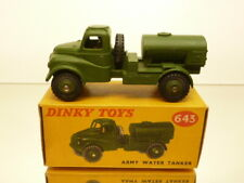 DINKY TOYS 643 ARMY WATER TANKER - MILITARY GREEN - EXCELLENT CONDITION IN BOX