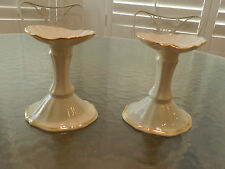 Pair Fine China Candlestick Holders - Lenox Ivory And Gold - Pure 24K Gold