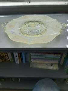 Depression Frosted / Clear Hand Painted Serving Dish w Handle