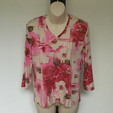 'FELLA HAMILTON' EC SIZE '8' PINK & TAUPE 3/4 SLEEVE STETCH FLORAL 'V' NECK TOP