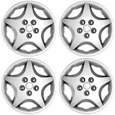 "4 PC Hub Cap Set ABS Silver 14"" Inch (Metal Clip) Wheel Skin Cover Caps Covers"