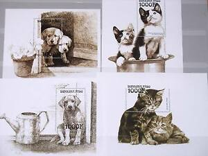 BURKINA FASO 1999 Block 191-94 Dogs Cats Katzen Fauna Tiere Domestic Animals MNH