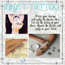 5 Temporary Tattoo Inkjet Decal Paper- Create Your Own :)
