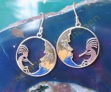 Moon Sterling Silver 925 Enamelled Earring Kokopelli Shaman Flute Indian