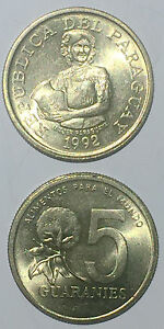 PARAGUAY 5 GUARANIES 1992 17mm brass coin UNC