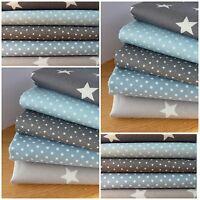 Blue & Grey Patchwork Quilting Fabric Bundles 100% Cotton 4 inch - 10 cm Squares