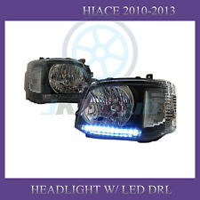 Clear LED DRL Black Housing Headlight Lamp For Toyota Hiace Commuter 2011-2014