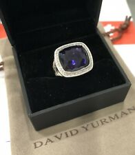 David Yurman 14mm Amethyst diamond sterling silver ring - size 7 - MSRP 1750$