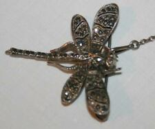 Vintage Art Deco Marcasite Sterling Silver DRAGONFLY Pin BROOCH Marked 925