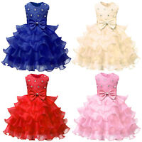 Flower Baby Girls Kid Princess Wedding Bridesmaid Party Pageant Tutu Gown Dress
