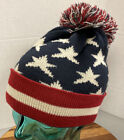 NWT D & Y USA FLAG PATRIOTIC RED/WHITE/BLUE WINTER BEANIE HAT WITH POM OSFM