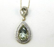 Natural Pear Shape Green Amethyst & Diamond Halo Pendant 14K Yellow Gold 4.08Ct