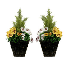 2 x Artificial Patio Planters - YELLOW & WHITE Pansies & Conifer/Cedar Topiary