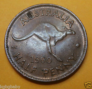 1960P Ydot AUSTRALIAN HALF PENNY 1960s ; Bronze (F26-6)