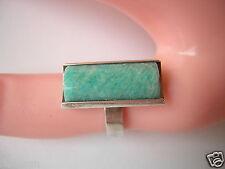 830 Silber Ring Finland,Finnland mit Grün/Weißem Farbstein 4,9 g / RG 52