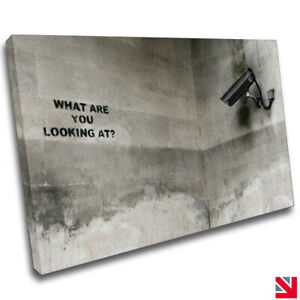 Banksy Security Camera CANVAS Wall Art Picture Print A4