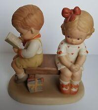 "Enesco Porcelain Figurine Boy Girl Children on Bench ""Should I?"" Vtg 1988 EUC"