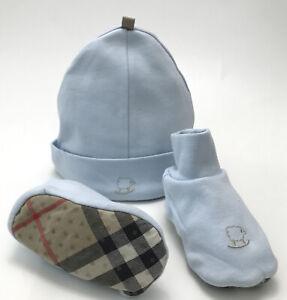 Burberry Baby Boy Set Two Piece Hat & Booties Nova Check Sole Baby Blue Sz 6M