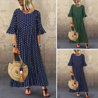 Women Printed Polka Dot Crew Neck Ethnic Loose Flare Sleeve Long Shirt Dress