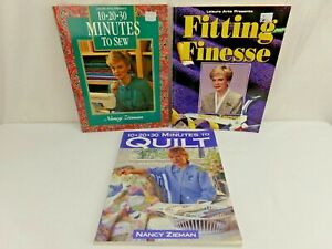 Lot of 3 Sewing with Nancy Zieman Books  10 20 30 minutes to Sew Quilt Fitting