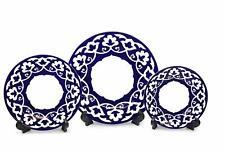 Royalty Porcelain 3-pc Russian Fine Blue Floral Set of Plates, Bone China