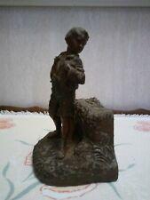 Antique Metal Sculpture BOOKEND STATUE Young Boy RARE