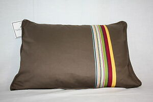 Nautica brown red yellow blue Stripe Decor Bed rectangle 16x12 accent Pillow new