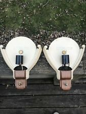Vintage Pair Of Art Deco Wall Sconce Marked B210 Cast Light Fixtures