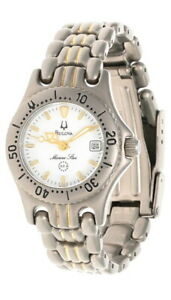 BULOVA Marine Star White Dial 2-Tone Titanium Women's Watch 70185