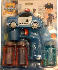 Blue Police Car Bubble Gun Blower Blaster Flashing LED Lights & Music 3 Refill