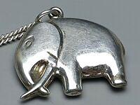Alter 800 Silber Anhänger Elefant 30er-50er Jahre & 835 Silberkette /A523