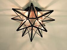 "Moravian Star Ceiling Light/Wall Sconce 15"", Glass, Hand Crafted"