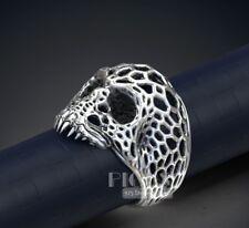 Unique Vornoi Skull 925 Sterling Silver Skull Head Men's Biker Ring jewelry