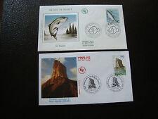 FRANCE - 2 enveloppes 1er jour 1990/1992 (mont-aiguille/saumon) (cy63) french