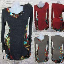Strickkleid Lagenlook Tunika Kleid Longshirt Gr. 38 40 42 44 46 48 (T420N) Glamz