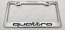 Quattro Audi Stainless Steel License Plate Frame Rust Free W/ Bolt Caps