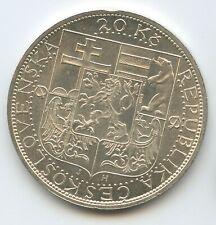 G0611 - Tschechoslowakei 20 Korun 1937 KM#18 Silber President Masaryk