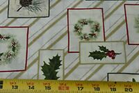 By 1/2 Yd, Christmas Flora with Metallic-Gold on Cream Quilt Cotton/Jo-Ann N5873