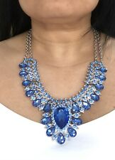 Blue Stone & Silver Large Statement Necklace
